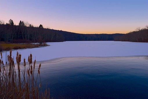 Frozen, Lake, Sunrise, Pink Sky, Winter, Ice, Snow