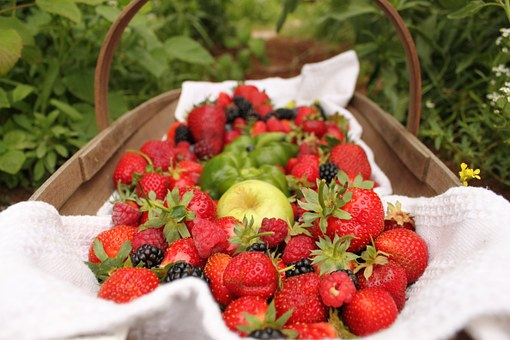 Strawberries, Fruit, Apples, Berries, Basket, Picnic