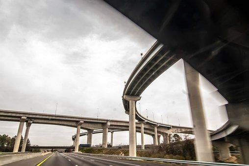 Freeway, View, Auto, Automobile, Bridge, Building