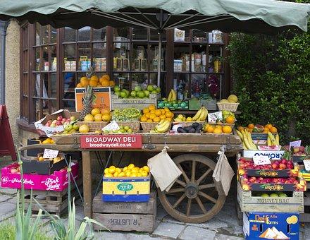 Fruiterer's Handcart, Apples, Oranges, Bananas, Melons