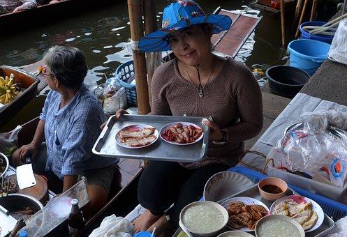 Floating Market, Bangkok, Thailand, Lady, Woman, Food