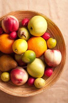 Fruits, Basket, Pear, Lemon, Apple, Radish, Green, Red