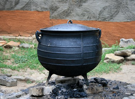 Cooking Pot, Black Pot, Cast Iron Pot, Ashes, Wall