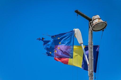 Flag, European, Symbol, Blue, Sign, Wind, Ragged, Sky
