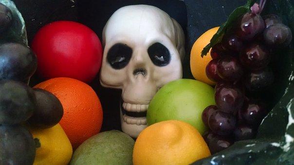 Fruit, Skull, Colorful, Food, Halloween, Bone, Skeleton