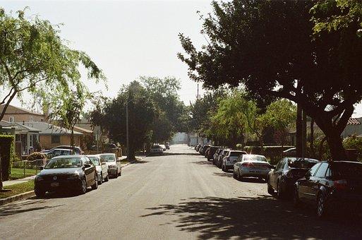 Road, Neighborhood, Cars, Parking, Building, House