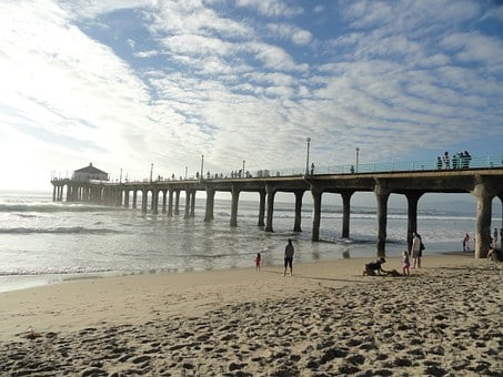 Pier, Santa, Monica, Beach, Angeles, Los, California