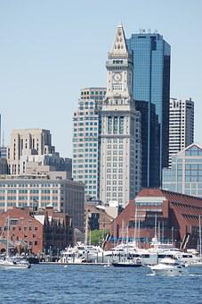 Tower, Clock, Boston, Custom House, Architecture