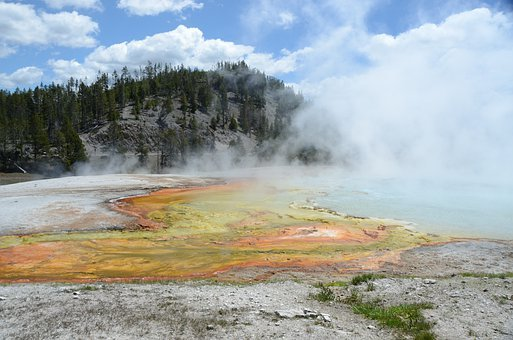 Thermal Feature, Colors, Colorful, Steam, Yellowstone