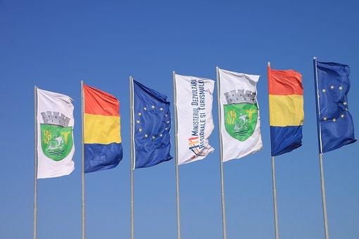 Beach, Colored, Country, Flags, Neptune, Romania, Sunny