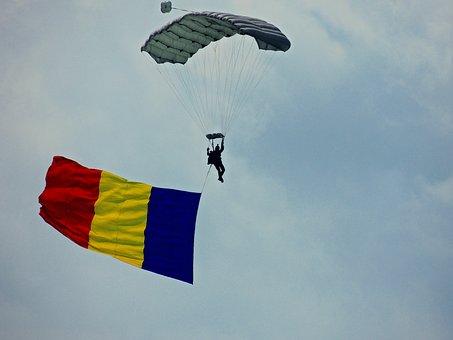 Parachute Jumper, Flag, Romania, Flight