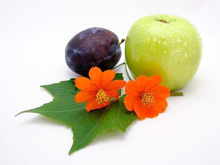 Fruit, Flowers, Plum, Apple, Green, Orange, White