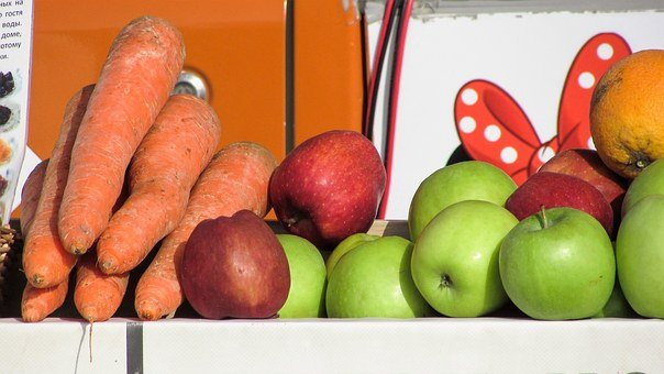 Fruits, Carrots, Oranges, Apples, Fresh, Canteen