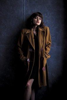 Girl, Coat, Old Coat, Brown Coat, Girl In Coat, Retro