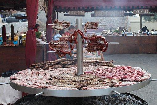 Murcia, Spain, Grill, Meat, Restaurant, Café, Cooking