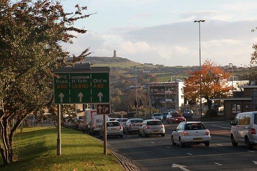 Huddersfield, Ring, Road, Traffic, Cars, Castle Hill