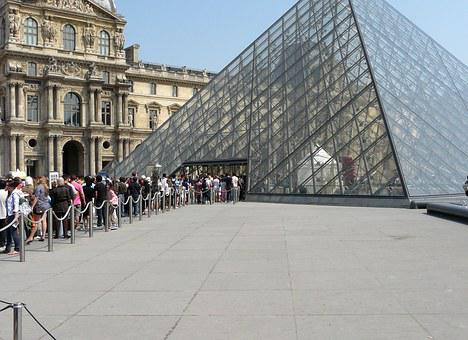 Louvre, Museum, Paris, France, Glass Pyramid