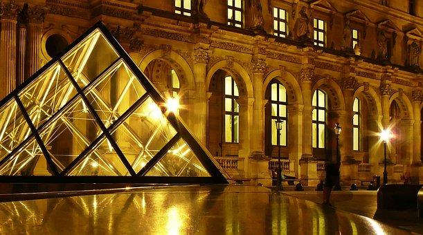 Paris, Louvre, Museum, Architecture, Glass Pyramid
