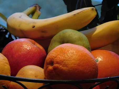 Fruit, Bananas, Apple, Oranges, Healthy, Yellow, Fruits