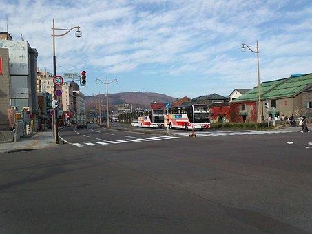 Road, Intersection, Hokkaido, Otaru