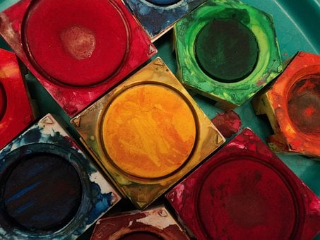 Color, Paint Boxes, Tusche Indian Ink, Paintbrushes