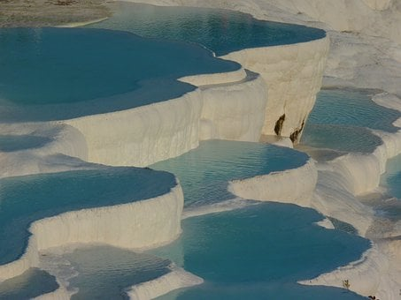 Pamukkale, Lime Sinter Terrace, Pool, Blue, Turquoise