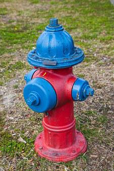 Fire Hydrant, Blue, Green, Red, Water, Protection
