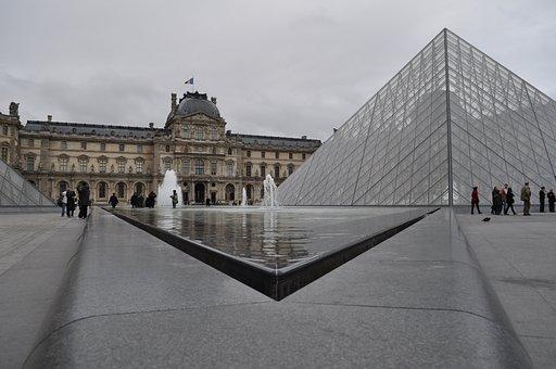 Paris, Louvre, Museum, Pyramid, Glass, Symmetry