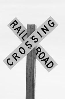 Railroad Crossing, Sign, Black And White, Railroad