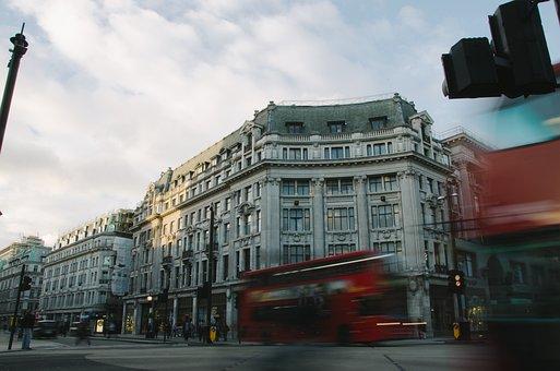 Double Decker Bus, Red, Buildings, Street, Corner, Road