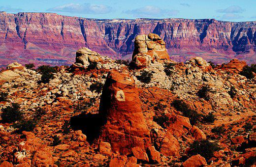 Grand Canyon, Usa, Rock Formations, Red Rocks
