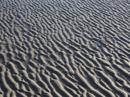 Amrum, Kniepsand, Ebb, Wave Pattern, Sand, Sea