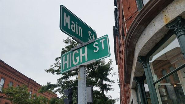High, Main, Street, Corner, Intersection, Road, Sign
