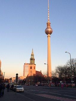 Tv Tower, Berlin, Sunset, Alexander Platz, City