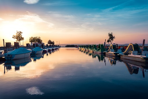 Sunset, Pedalo, Lake, Podersdorf, Summer, Holiday
