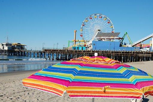 California, Beach, Parasol, Umbrella, Ferris, Wheel