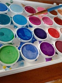 Watercolors, Paint, Drawing, Color, Brushes, Canvas