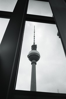Berlin, Tv Tower, Window, Black And White, Architecture