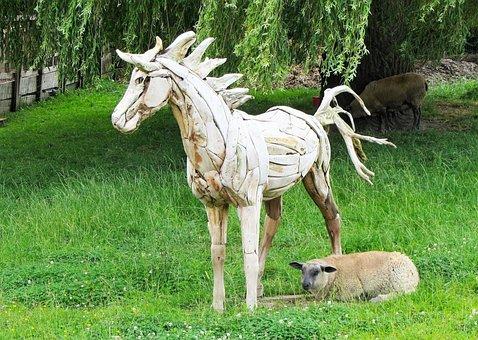 Wooden Horse, Horse, Sheep, Farm, Pasture, Cattle