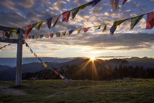 Alpine, Sunrise, Sunset, Mountains, Clouds, Sky