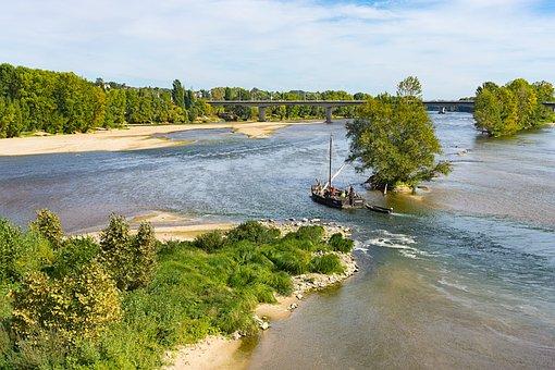 Loire, France Tours, River, Sandbar, Water, Bank