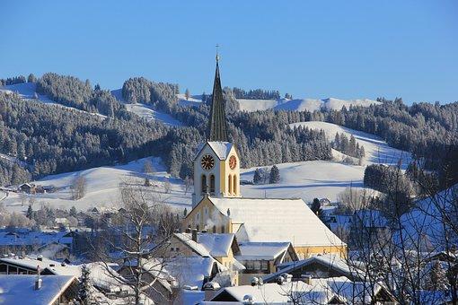 Oberstaufen, Town View, Church, Winter
