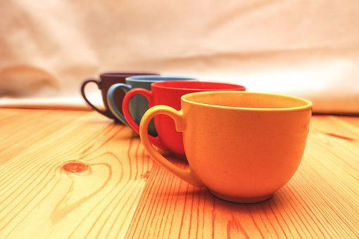Cup, Glass, Color, Table, Wood, Wooden Table, Red