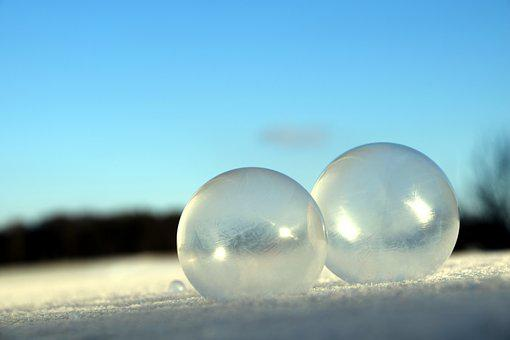 Blow, Soap Bubbles, Iridescent, Winter, Snow, Ball