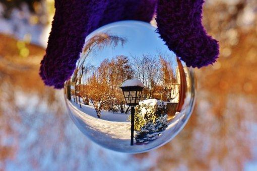 Glass Ball, Transparent, Lantern, Mirroring, Glass