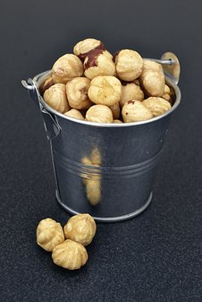 Hazelnuts, Metallic Bucket Food, Food Photography, Food