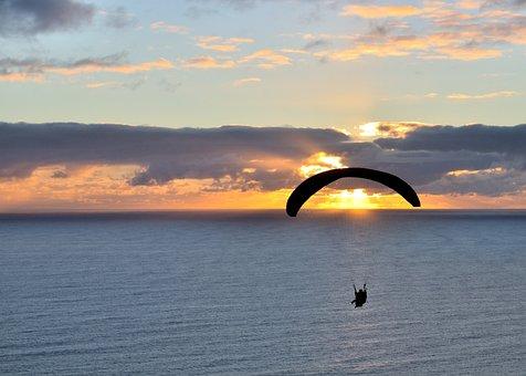 Sunset, Paraglider, Ocean, Paragliding, Sport, Sky