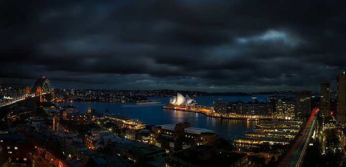 Sydney, Australia, Panorama, Night, Evening, City