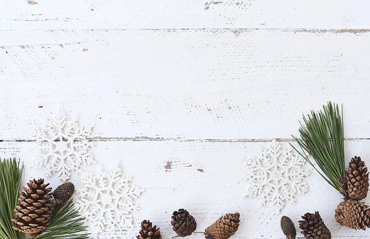 White Wood, Desk, Winter, Christmas, Flatlay, Pine Cone