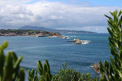 Socoa, Basque Country, Sea, Mountains, Surfer, Atlantic